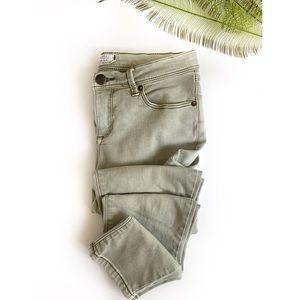 FREE PEOPLE | Vintage Green Stretch Skinny Jeans